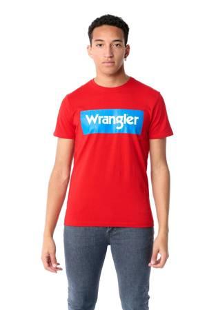 WRANGLER SS LOGO TEE FORMULA RED W742FKXWO
